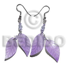 Dangling double leaf lilac hammershell Shell Earrings