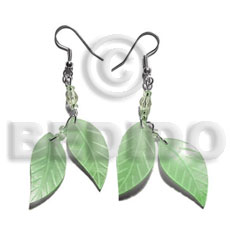 hand made Dangling double leaf pastel green Shell Earrings
