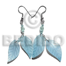 Dangling double leaf aqua blue Shell Earrings