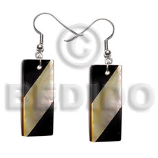 hand made Dangling rectangular 35mmx15mm back to Shell Earrings