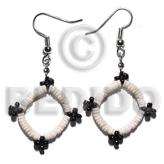 Dangling white clam glass Shell Earrings