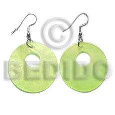Dangling 35mm yellow green hammershell Shell Earrings
