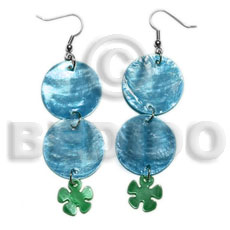 Dangling double round 25mm blue Shell Earrings