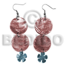 Dangling double round 25mm reddish Shell Earrings