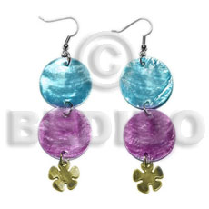 Dangling double round 25mm light Shell Earrings