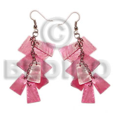 Dangling pink 20mmx15mm capiz 9pcs. Shell Earrings