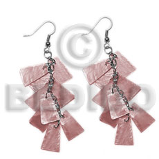 Dangling old rose 20mmx15mm capiz Shell Earrings