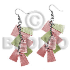 Dangling subdued pink subdued olive green Shell Earrings
