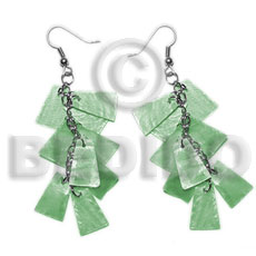 Dangling subdued green 20mmx15mm capiz Shell Earrings