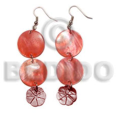 hand made Dangling double round 20mm red Shell Earrings