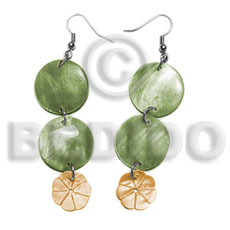 Dangling double round 20mm olive Shell Earrings