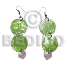 Dangling double round 25mm olive Shell Earrings