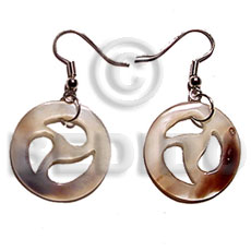 Dangling round hammershell 30mmx30mm Shell Earrings