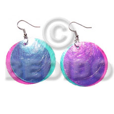 Dangling double pink aqua blue combination Shell Earrings