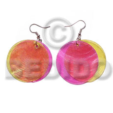 Dangling double yellopink combination capiz Shell Earrings