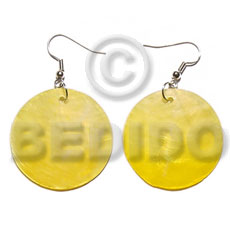 Dangling yellow kabibe round 30mm Shell Earrings