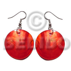 Dangling red kabibe round 30mm Shell Earrings