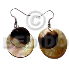 Dangling round 35mm brownlip Shell Earrings