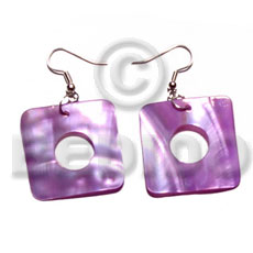 Dangling 30mmx30mm square lilac kabibe Shell Earrings