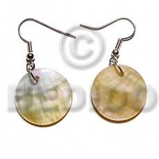 Dangling 20mmx20mm round mop Shell Earrings