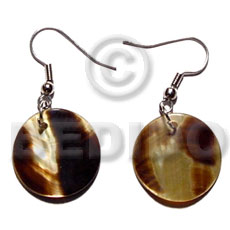 Dangling 20mmx20mm round brownlip tiger Shell Earrings