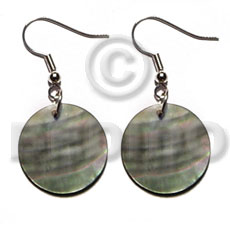 hand made Dangling 20mmx20mm round blacklip Shell Earrings