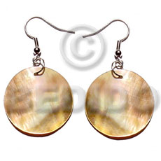 Dangling 20mmx20mm round brownlip Shell Earrings
