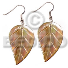 Dangling 35mmx30mm brownlip leaves Shell Earrings