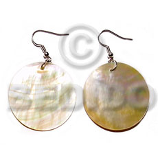 hand made Dangling 30mm round mop Shell Earrings