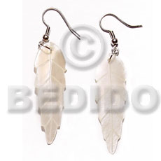 hand made Dangling 40mmx15mm hammershell leaves Shell Earrings
