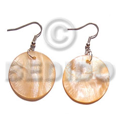 Dangling 20mm round melon hammershell Shell Earrings