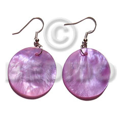hand made Dangling 20mm round lavender hammershell Shell Earrings