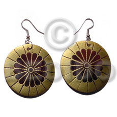 Dangling 35mm round handpainted embossed blacktab Shell Earrings