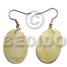 Dangling 35mmx30mm oval yellow Shell Earrings