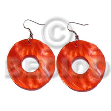 hand made Dangling 35mm ring hammershell Shell Earrings