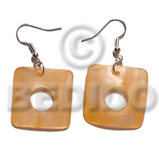 Dangling 35mm square hammershell Shell Earrings