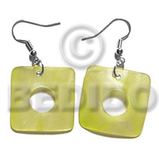 hand made Dangling 35mm square hammershell Shell Earrings