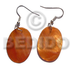 Dangling 35mmx30mm oval orange Shell Earrings