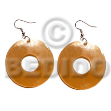 Dangling 35mm ring hammershell Shell Earrings