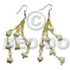 hand made Dangling white rose multicolored Shell Earrings