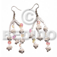 Dangling white rose multicolored Shell Earrings