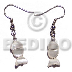 Dangling troca half moon Shell Earrings