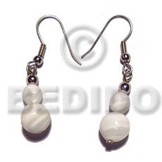 Dangling graduated troca beads Shell Earrings