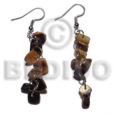 Dangling brownlip square cut Shell Earrings