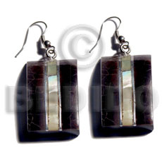 Dangling 33mmx20mm laminated blacktab mop cracking Shell Earrings