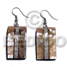 hand made Dangling 33mmx20mm laminated brownlip hammershell cracking Shell Earrings