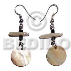 Dangling 15mm round mop Shell Earrings
