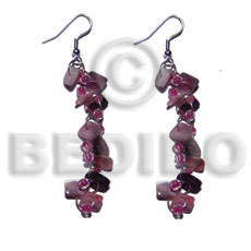 Dangling pink hammershell square cut Shell Earrings