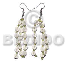 Dangling 3 rows white clam Shell Earrings