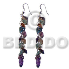 hand made Dangling rainbow hammershell square cut Shell Earrings